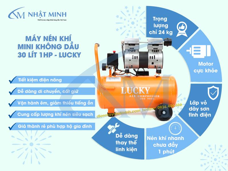 Ưu điểm của máy nén khí không dầu 30 lít Lucky