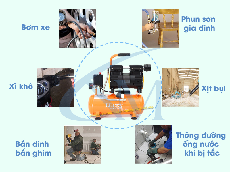 Ứng dụng thực tiễn của máy nén khí mini 9 lít vào cuộc sống
