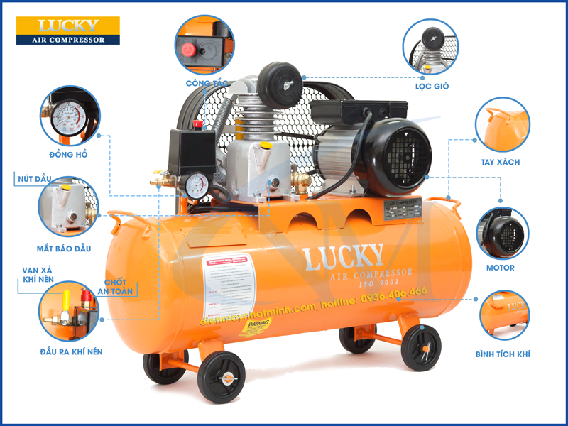 Chi tiết các bộ phận máy nén khí Lucky 35 lít