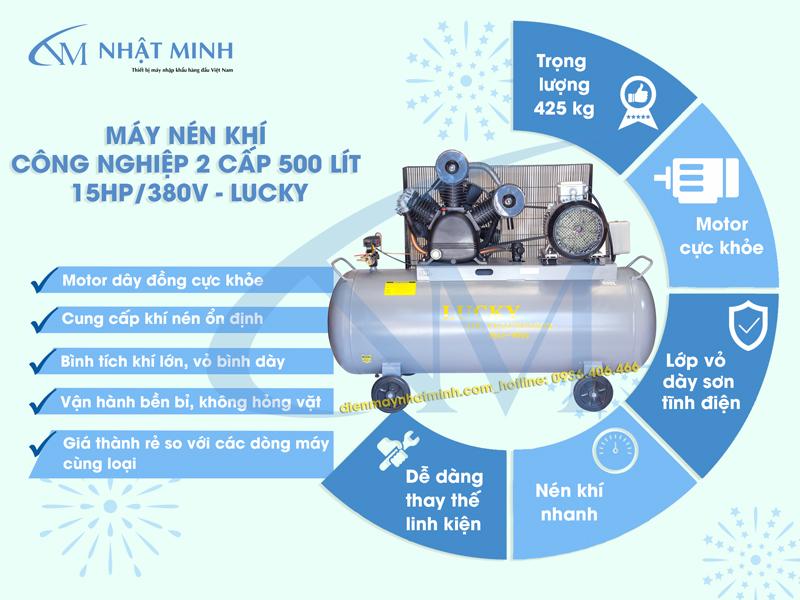 Ưu điểm của máy nén khí Lucky 500 lít 15HP
