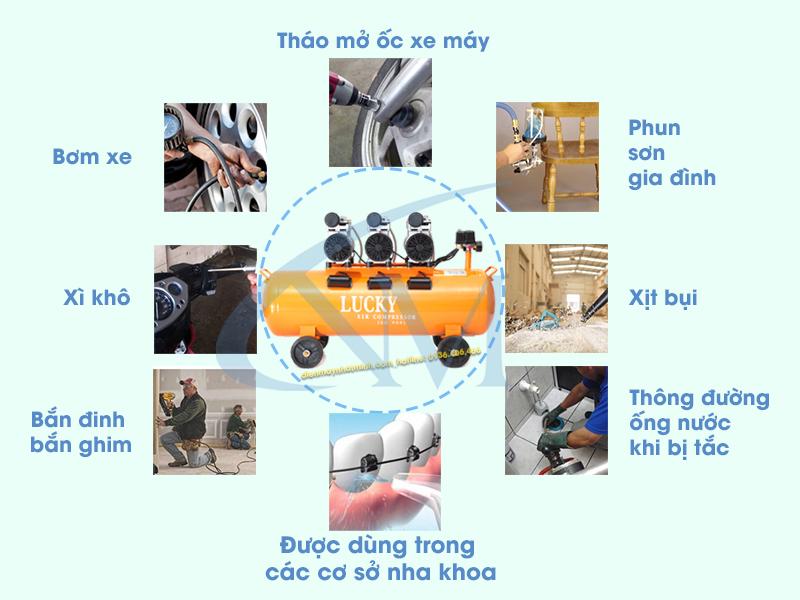 Máy nén khí không dầu 90 lít Lucky được sử dụng rộng rãi trong cuộc sống