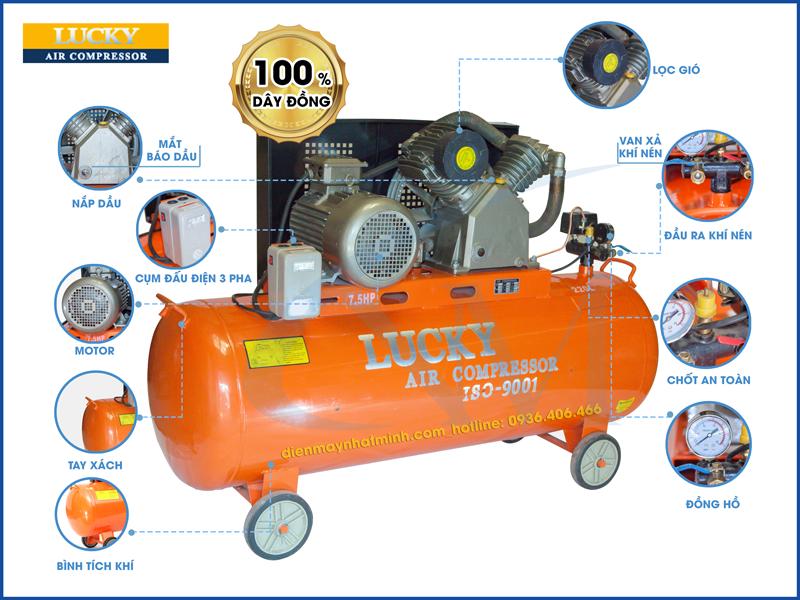 Chi tiết các bộ phận trên máy nén khí có dầu 220 lít 7,5hp Lucky