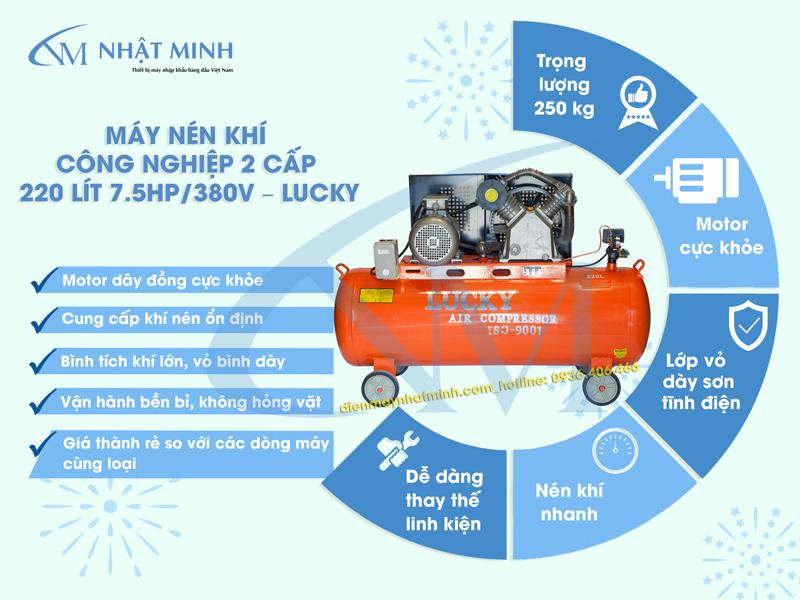 Ưu điểm của máy nén khí 220 lít 7,5hp Lucky