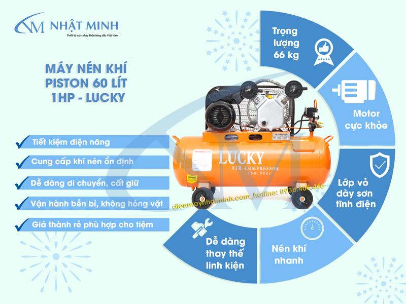Máy nén khí Piston 60 lít 1HP với nhiều ưu điểm nổi bật