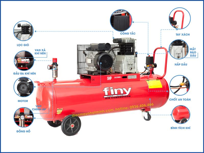 Chi tiết các bộ phận trên máy nén khí Finy 150 lít 5HP