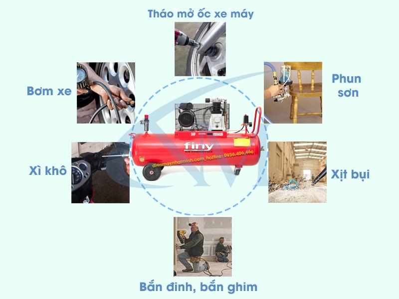 Ứng dụng của máy nén khí Finy khá đa dạng trong nhiều lĩnh vực của đời sống