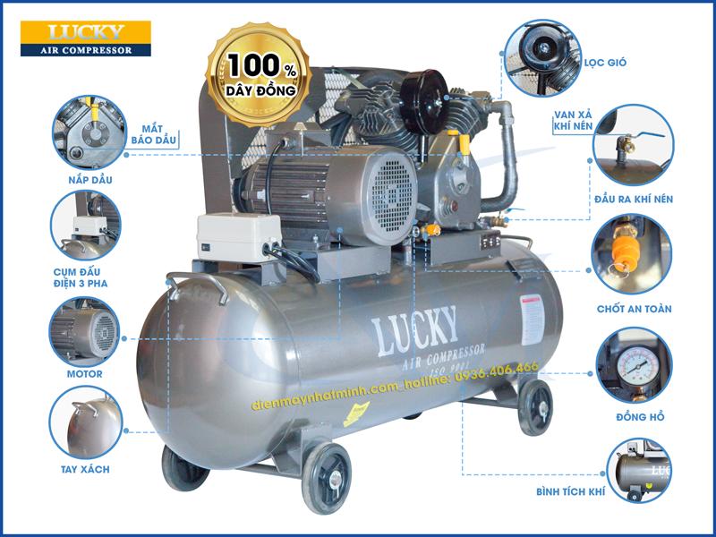 Chi tiết các bộ phận có trên máy nén khí Lucky 150 lít 5,5 HP