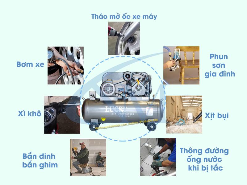 Ứng dụng thực tiễn máy Lucky 150 lít 5,5 HP