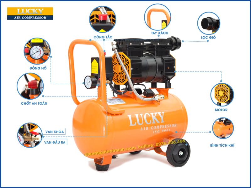 Chi tiết các bộ phận chính của máy nén khí không dầu Lucky 24 lít 1HP