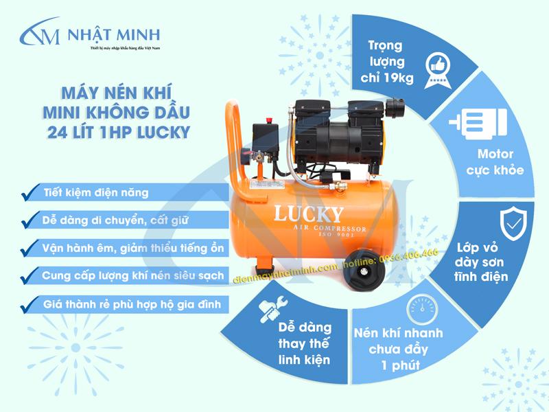 Ưu điểm của máy nén khí Lucky không dầu 24 lít Lucky