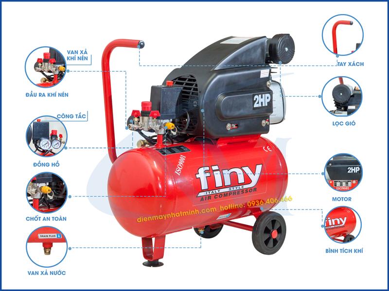 Chi tiết từng bộ phận máy nén khí mini 24 lít 2HP