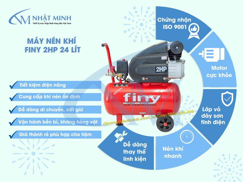 Đặc điểm nổi bật của máy nén khí mini 24 lít Finy