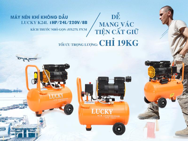 máy nén khí không dầu Lucky K24L tương đối gọn nhẹ