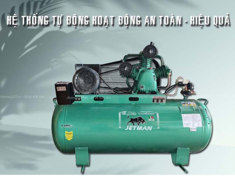 Máy nén khí piston 300 lít 10HP 2 cấp Jetman tính an toàn cao