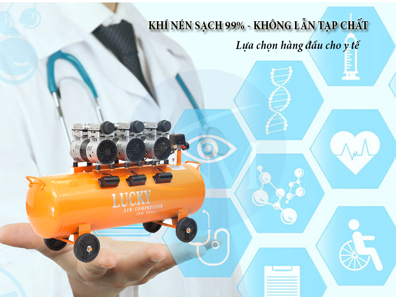 Máy nén khí không dầu 150 lít 6 hp cho y tế