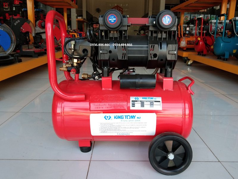 Mặt sau máy nén khí không dầu 50 lít 3hp King Tony Đài Loan