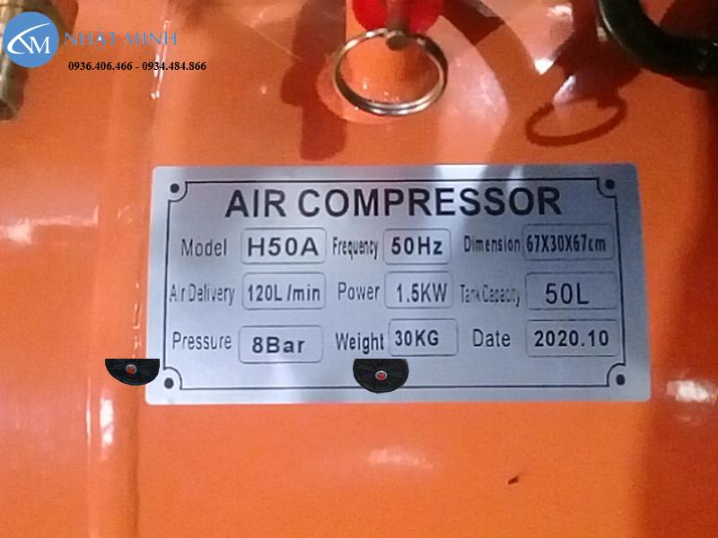 Thông số máy nén khí mini 50 lít 2Hp Lucky H50A
